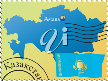 Vector stamp with an image of map of Kazakhstan