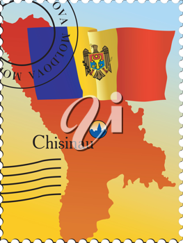 Vector stamp with an image of map of Moldova