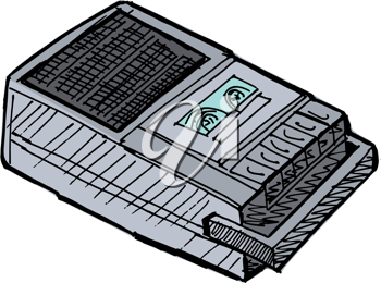 Illustration of compact tape recoder on white