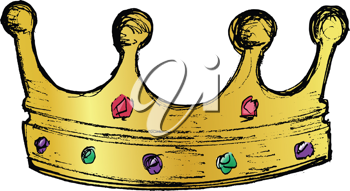 hand drawn, vector, sketch illustration of crown
