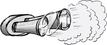 hand drawn, illustration of car exhaust pipe