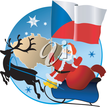 Santa Claus with flag of Czech Republic
