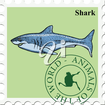 vector, post stamp shark