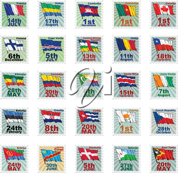 Set of vector stamps with national flags. Volume 2