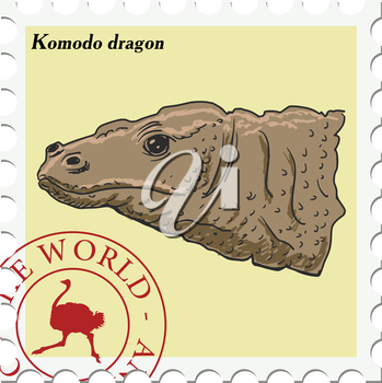 vector, post stamp with Komodo dragon