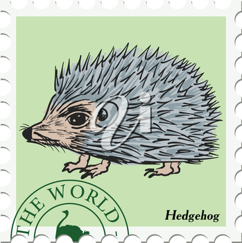 vector, post stamp with hedgehog