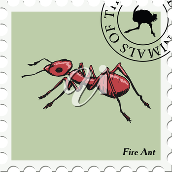 vector, post stamp with fire ant