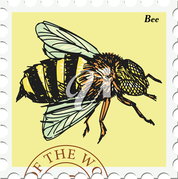 vector, post stamp with bee