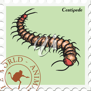 vector, post stamp with centipede