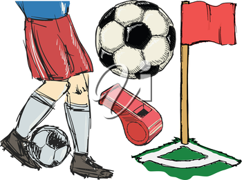Set of illustrations of soccer topic