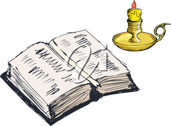 Vintage, open book with candle, set of vector images
