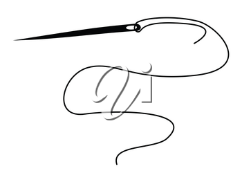 silhouette of needle with thread, domestic life motive