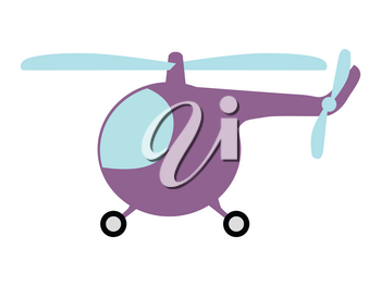 Vector illustration of small cartoon helicopter. Side view. Motives of cartoon objects, vehicles, flying transport