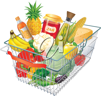 Royalty Free Clipart Image of a Shopping Basket Full of Food