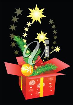 Royalty Free Clipart Image of a Box of Christmas Decorations