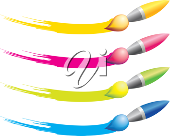 Royalty Free Clipart Image of Paintbrushes