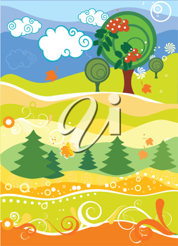 Royalty Free Clipart Image of a Fall Landscape