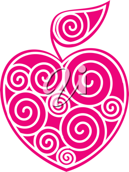 Royalty Free Clipart Image of a Heart Shaped Apple