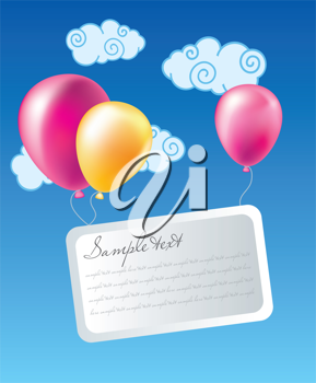 Royalty Free Clipart Image of Balloons in the Sky