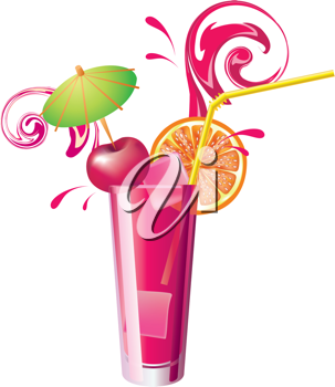 Royalty Free Clipart Image of a Glass of Juice