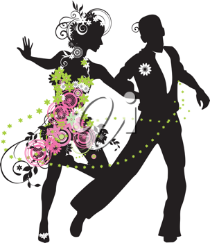 Royalty Free Clipart Image of a Silhouette of a Dancing Couple