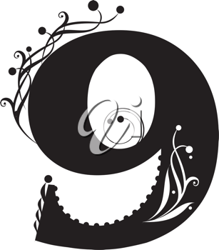 Royalty Free Clipart Image of the Number Nine