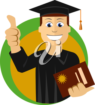 Young graduate student, cartoon character, graduation, successful students knowledge, school, university, college, vector illustration