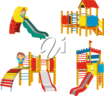 Set of Playgrounds for children. Vector Illustration
