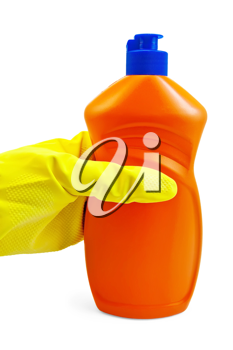 Royalty Free Photo of a Rubber Gloved Hand Holding a Bottle of Liquid Detergent