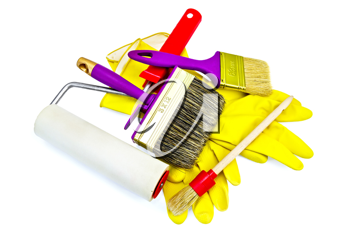 Brushes of various sizes with yellow gloves and roller isolated on white background