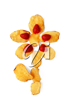 Potato chips with strawberries in the form of a flower with leaf isolated on white background