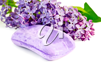 One bar of lavender soap with a sprig of lilac blossoms isolated on white background