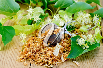 Metal strainer with dried flowers of linden, fresh linden flowers on a background of wooden boards