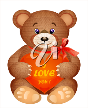 Royalty Free Clipart Image of a Teddy Bear With a Heart
