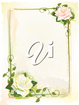 Royalty Free Clipart Image of a Frame With Roses