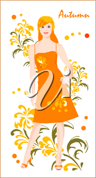Royalty Free Clipart Image of a Woman in Autumn