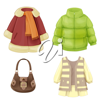 set of seasonal clothes for girls. Coat, dress, padded parka and bag.