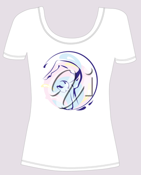 t-shirt design  with  girl silhouette