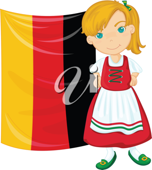 Royalty Free Clipart Image of a German Girl With a Flag