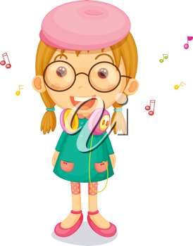 Royalty Free Clipart Image of a Little Girl With Headphones