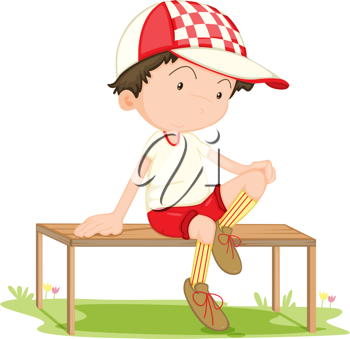 Royalty Free Clipart Image of a Boy Sitting on a Bench