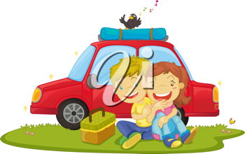 Royalty Free Clipart Image of Children Having a Picnic