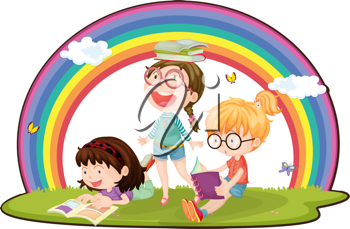 Royalty Free Clipart Image of Girls Reading Under a Rainbow