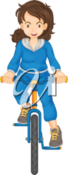 Lady riding a bike isolated