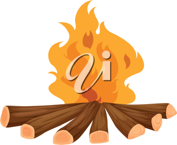 Illustration of a campfire on white