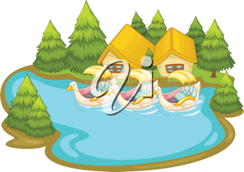 Illustraton of boats by holiday cabins