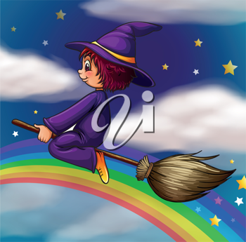 illustration of a witch flying on broom in dark night
