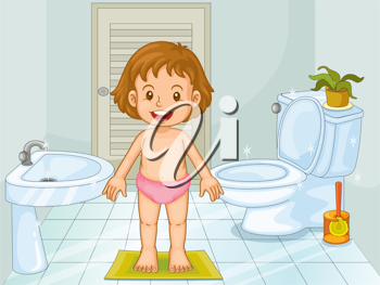 Illustration of a young girl in a bathroom