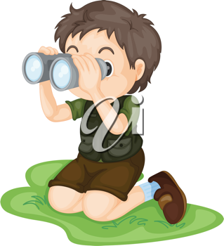 Illustration of boy using binoculars