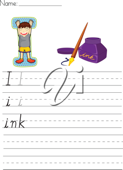 Alphabet worksheet of the letter I